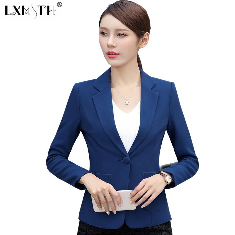 5XL 6XL 2018 Spring Blazer Jacket One Button Notched Collar Slim Blazer Women Pockets Ladies ...