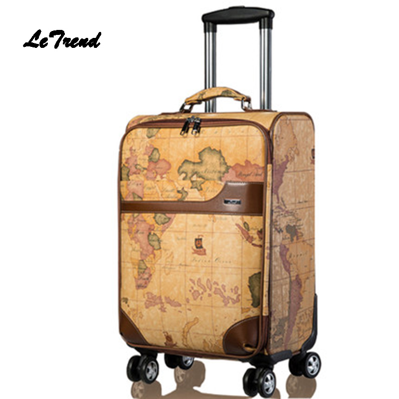 Letrend PU Leather Rolling Luggage Spinner Wheels Suitcases Retro Student Trolley Korean Trunk Carry On Luggage Women Travel Bag letrend business oxford travel bag suitcases wheels student backpack rolling luggage large capacity trolley carry on trunk