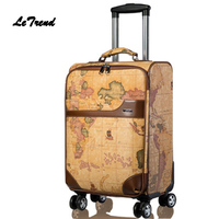 Letrend PU Leather Rolling Luggage Spinner Wheels Suitcases Retro Student Trolley Korean Trunk Carry On Luggage Women Travel Bag