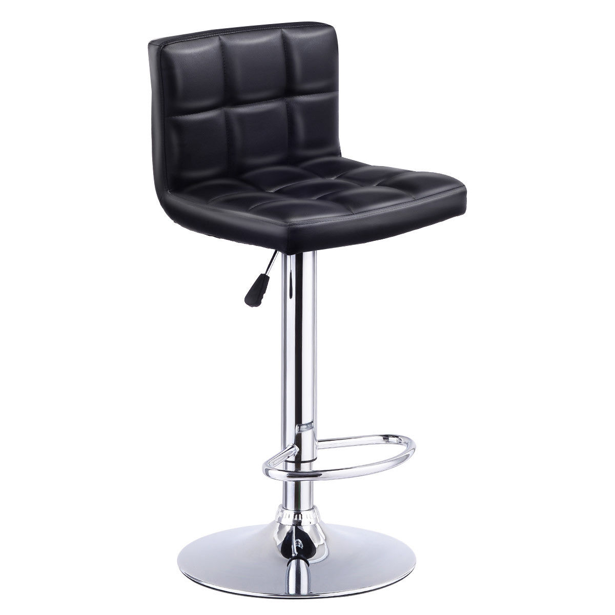 Giantex Bar Stool Swivel Adjustable PU Leather Barstools Bistro Pub Chair Modern Living Room Bar Furniture HW53843BK