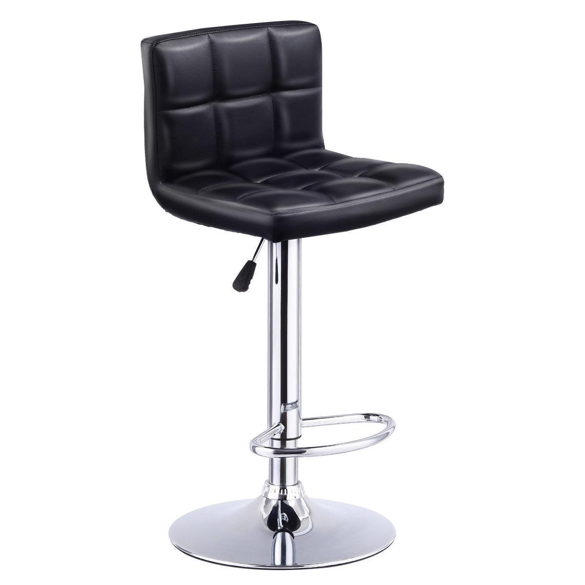 Giantex Bar Stool Swivel Adjustable PU Leather Barstools Bistro Pub Chair Modern Living Room Bar Furniture HW53843BK