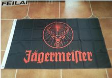 3x5ft custom flag black jagermeister flag with black sleeve 120g free shipping