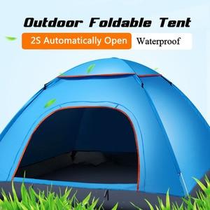 Image 5 - Di grandi dimensioni di tiro tenda esterna 3 4 persone automatico della velocità aperto lanciare pop up antivento impermeabile spiaggia tenda da campeggio grande spazio