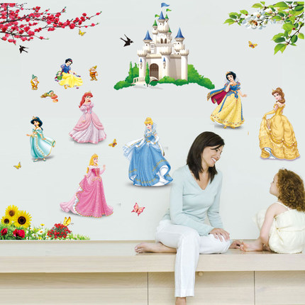 Lovely Diy Seven Princess Birds Flower Castle Wall Stickers For Kids Rooms Girl Bedroom Home Decor Wall Decals Vinyl Mural Gift