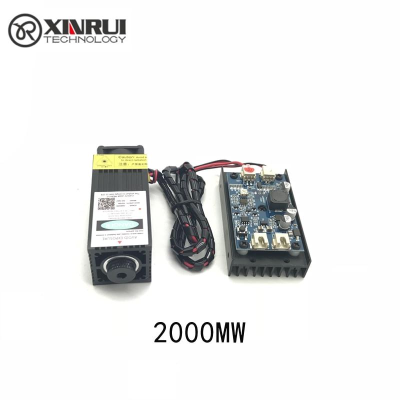 445NM 2w ad alta potenza con messa a fuoco modulo laser blu incisione laser e taglio modulo TTL tubo laser 2000mw + googles