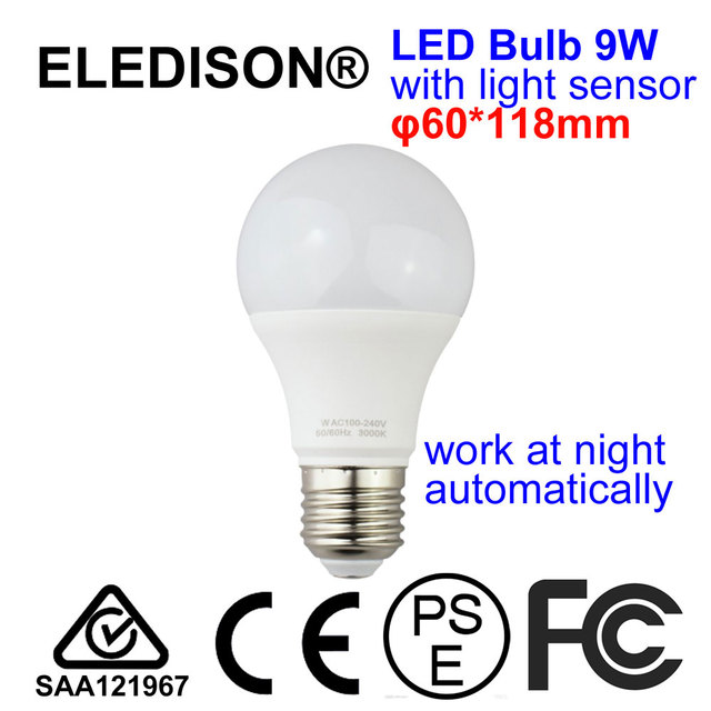 Light Sensor LED Light Bulb E27 9W 85 265V without on off switch ...