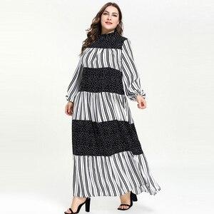 Image 4 - Kobiety Ruffles stanąć szyi kropki Maxi długie sukienki Vestidos z długim rękawem w paski łatka muzułmańskie Abaya strój islamski m 4xl