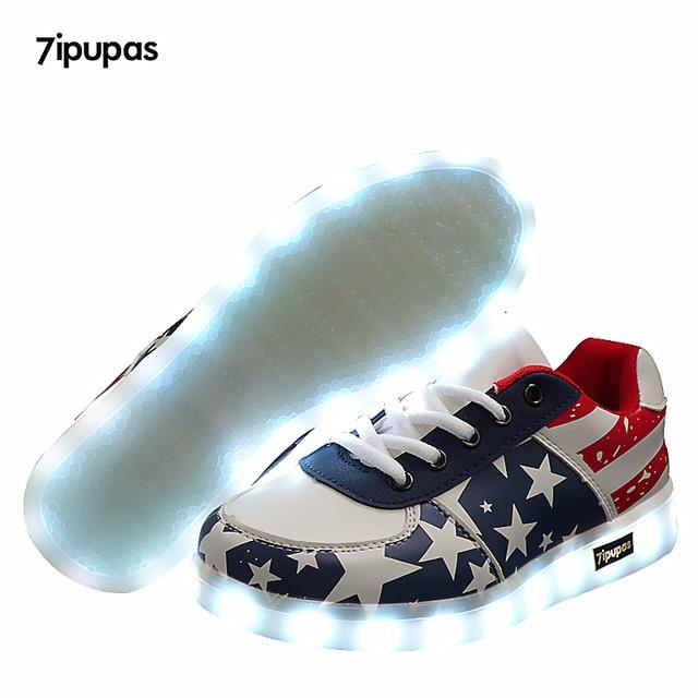 7 ipupas американские звезды детские светящиеся кроссовки для мальчиков и девочек обувь с подсветкой детская обувь с подсветкой led тапочки Повседневное световой кроссовки
