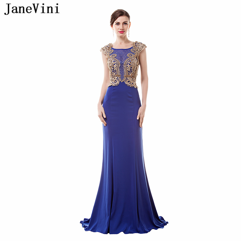 JaneVini 2018 Vintage Royal Blue Long   Bridesmaid     Dresses   Scoop Neck Gold Lace Appliques Beaded Mermaid Satin Arabic Prom Gowns