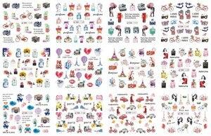 Image 5 - 12 Designs/Set Water Decals Nail Slider Flora/ Cartoon/ Geometric Watermark  Nail Sticker Decoration Wraps Manicure BN1117 1212