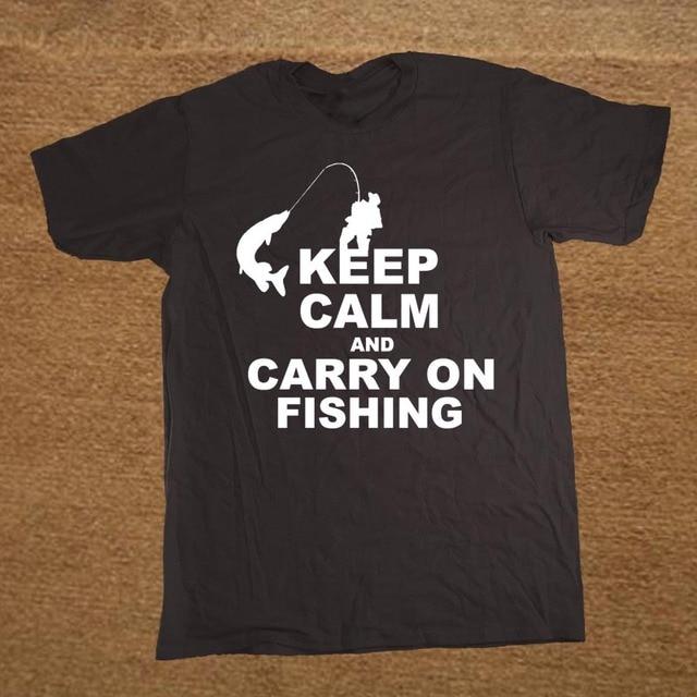 d8ab9e8e Keep Calm And Carry On Fisher Fisherman Custom Funny T Shirt Tshirt Men  Cotton Short Sleeve T-shirt Top Tees