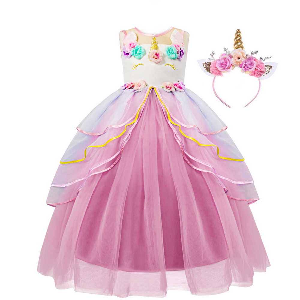 Big Girls Unicorn Costume Disfraz Unicornio With Headband Flowers Tutu Dress Up For Children Christmas Wedding Party Dresses