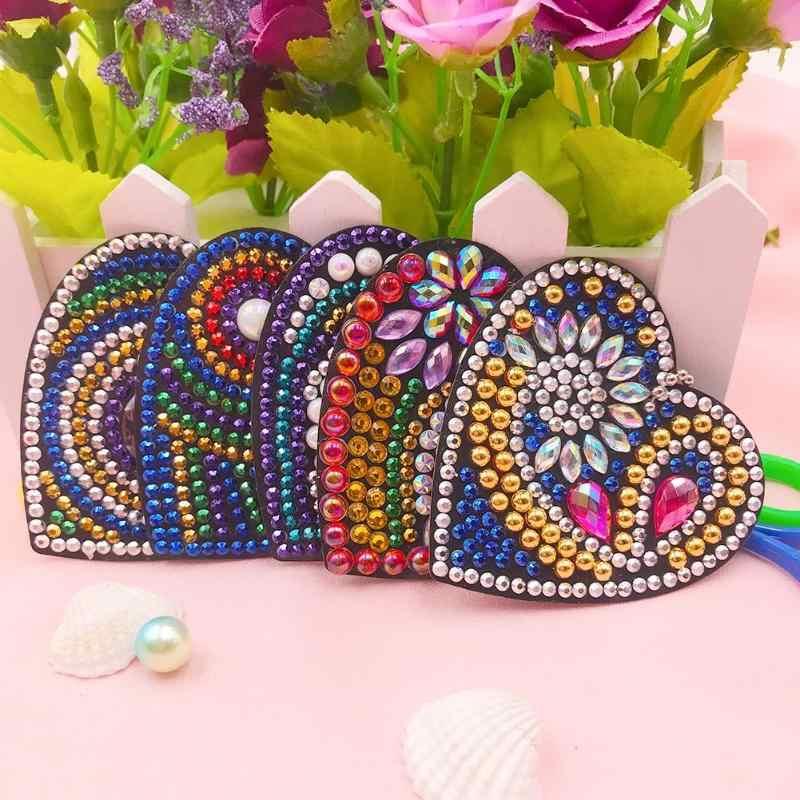 5 pièces/ensemble bricolage diamant peinture porte-clés plein sac de forage amour coeur Double face suspendus ornements porte-clés Handmake porte-clés cadeau