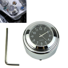 1 Pcs Universal 1″ Chrome Waterproof 7/8 Motorcycle Handlebar Mount Temp Thermometer Clock Glow Watch Motorcycles Accessories