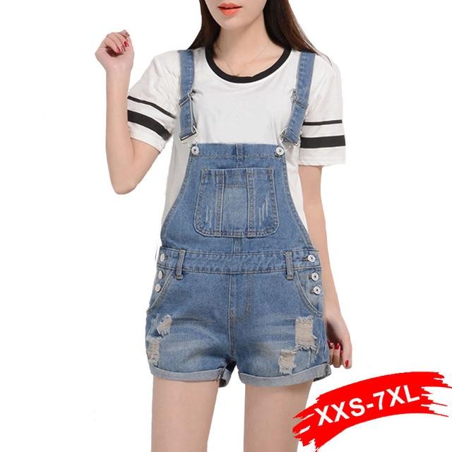 dc45e9e4011 Summer Korean Vintage Denim Jumpsuit Shorts Jeans Romper Bib Overalls for  Women Plus Size Bodycon Jumpsuit Moto Mujer Xxxl 5Xl