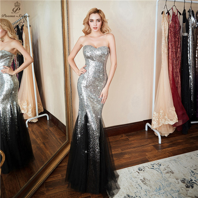 Poems Songs 2019 New Elegant Long Evening Dress vestido de festa   Luxury Silver gradien Sequin Formal Party dress prom gowns