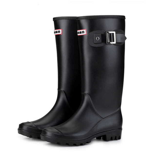 ผู้หญิงเย็นสภาพอากาศฝนกันน้ำรอบ Toe อบอุ่นเรียงรายหัวเข็มขัดฉนวน Block Heel Pull - on ฤดูหนาวเวลลิงตัน
