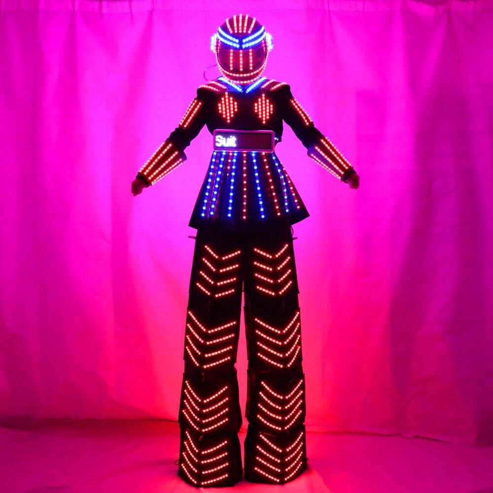 LED Luminous Stilt Women Robot Costume With LED Helmet Growing LED Light Kryoman Robot Suit Stilt