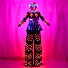 СВЕТОДИОДНЫЙ световой свая Для женщин костюм робота с шлем с led подсветкой растущий светодиодный свет робот криомен костюм свая одежда событие trajes de