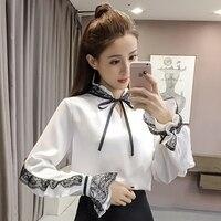 Automne nouvelle neige tourne vêtement supérieur sans doublure de mode han édition aristocratique tempérament col de dentelle couture bow blouse