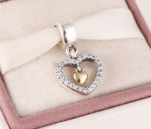 2015 New 925 sterling silver pave heart dangle charms with 14k real solid gold for women famous brand diy bracelets SH0596