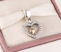 2015 New 925 sterling silver pave heart dangle charms with solid gold heart for women famous brand diy bracelets SH0596