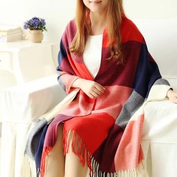 190*50cm Autumn Winter Female Wool Plaid Scarf Women Cashmere Scarves Wide Lattice Long Shawl Wrap Blanket Warm Tippet Drop Ship 1