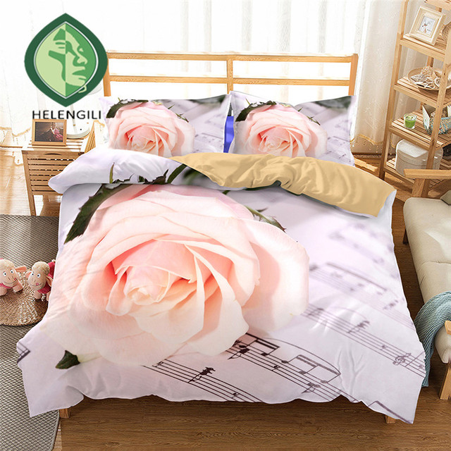 HELENGILI 3D Bedding Set rose Music Print Duvet cover set lifelike bedclothes with pillowcase bed set home Textiles #2-01