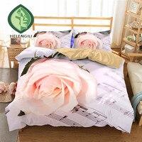 HELENGILI 3D Bedding Set rose Music Print Duvet cover set lifelike bedclothes with pillowcase bed set home Textiles #2 01