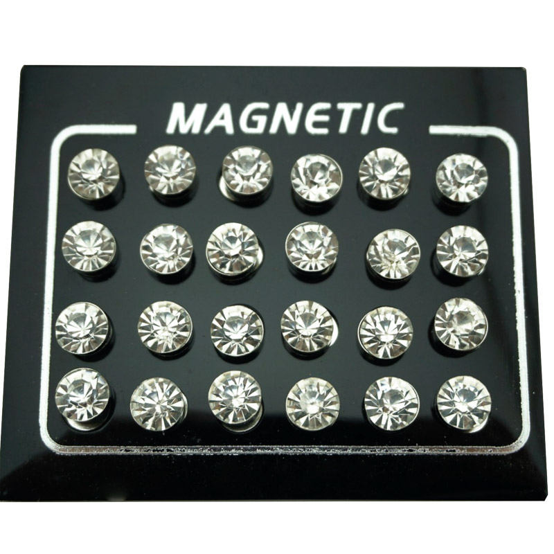 REGELIN 12 Pair/lot 4/5/6/7mm Round Crystal Rhinestone Magnet Stud Earring Puck Women Mens Magnetic Fake Ear Plug Jewelry
