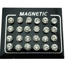 Jesteś in brinco redondo cristal strass, brinco unissex magnético 12 par/lote 4/5/6/7mm fecho de orelha falsa magnético, joias