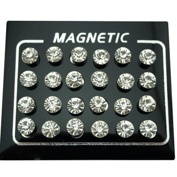 REGELIN 12 Pair lot 4 5 6 7mm Round Crystal Rhinestone Magnet Stud Earring Puck Women.jpg 350x350 - REGELIN 12 Pair/lot 4/5/6/7mm Round Crystal Rhinestone Magnet Stud Earring Puck Women Mens Magnetic Fake Ear Plug Jewelry