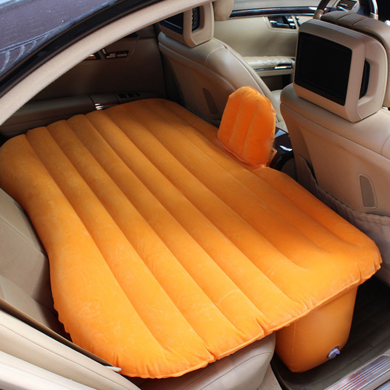 Outdoor Camping Travel Inner Car Inflatable Air Mattress Seat Rest Cushion Bed Mat Thickening Flocking Mattresses Sleeping Bag