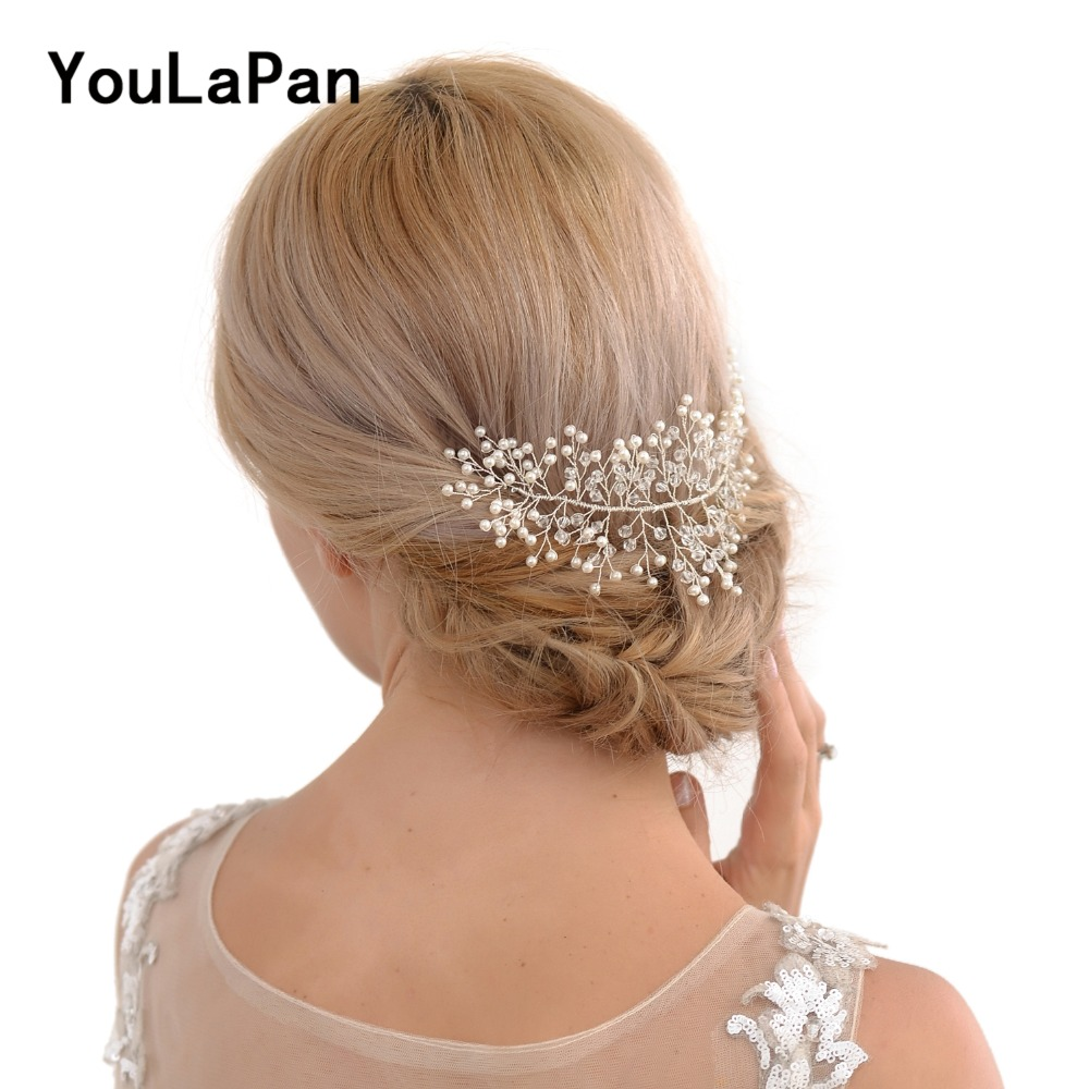 YouLaPan Wedding Hair Vine Accessories Wedding Headpieces For Bride Silver Pearl Hair Piece Wedding Crystal Headband HP31