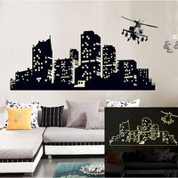 Large Fluorescent Luminous vinyl Wall Stickers City of the Night Sky Wall Stickers for Kids Room Glow in the Dark UYT Shop