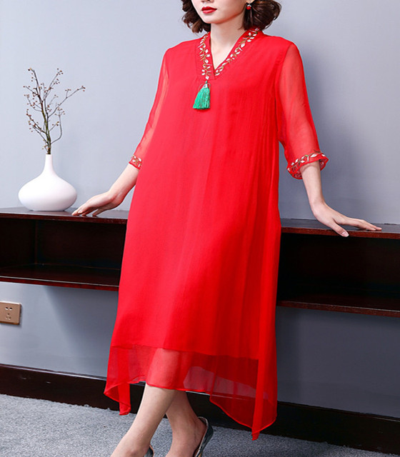 100%Silk Dress 2019 Spring Summer Red Party Fashion Dress Women V-Neck Tassel Embroidery 3/4 Sleeve Midi Party Vintage Dress XXL