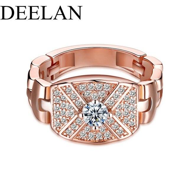 79f4556ffbd9 DEELAN Moda Simulado reloj anillo Cubic Zirconia Joyería de La Boda Partido  de Las Mujeres de