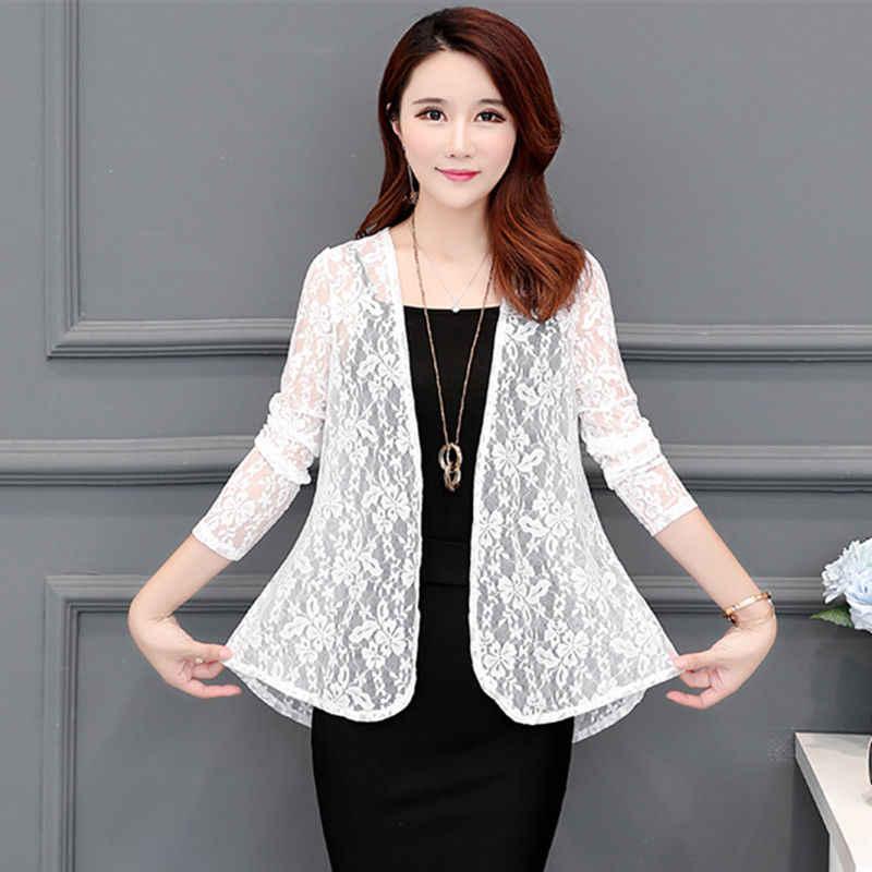Yaz kadın uzun kollu giyim örme gömlek kadın gömlek hırka rashguard dantel gömlek isze M-3XL