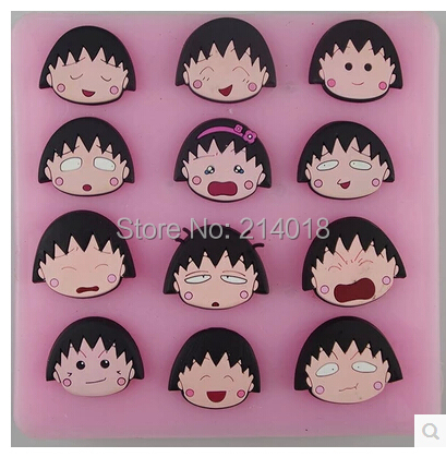DIY Chibi Maruko Chan silicone mold chocolate mold fondant cake mold Jelly pudding Accord to the
