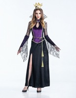 MOONIGHT Halloween Costume Witch Dress Black Temperament Goddess Queen Loaded Gothic Witch Costume