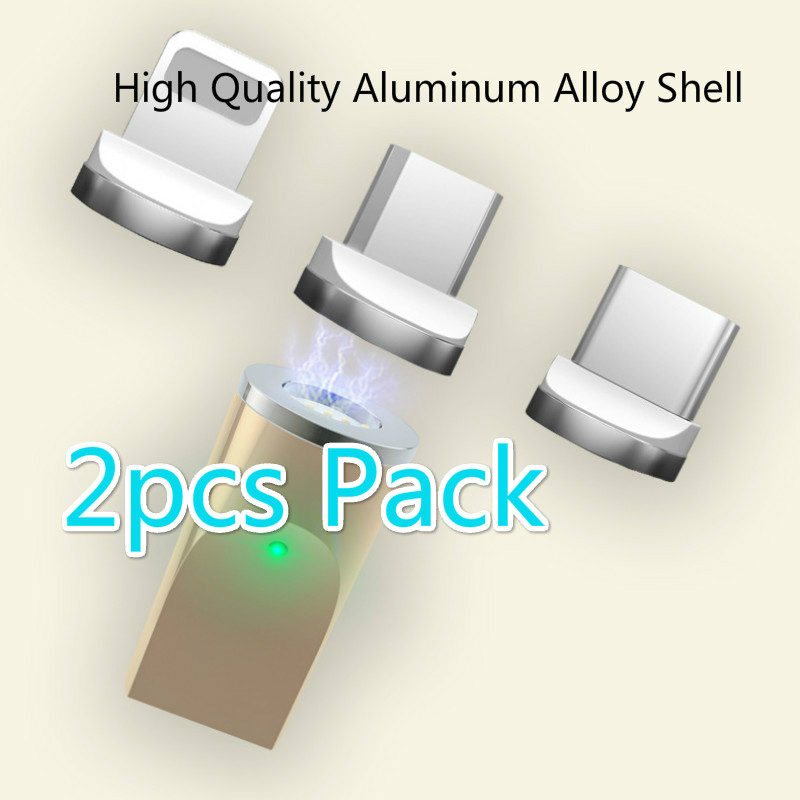2pcs Pack  Magnetic Cable Adapter LED Light Transfer Connector Micro Usb Adapter IOS Andriod Type C Adpater For Iphone Samsung