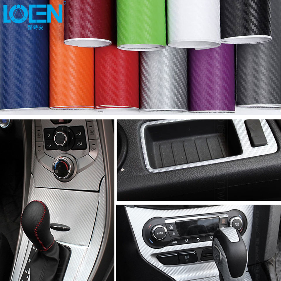 127cm*30cm/127cm*50cm/127cm*60cm Car Styling 3D Carbon Fiber Vinyl Film Sticker Car Wrap Auto DIY Decorative Stickers <font><b>5</b></font> Colors image