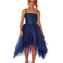 Spaghetti Straps Sequins Royal Blue High Low Girl Party Dress Irregular Skirt Teens Flower Dresses Kids Pageant