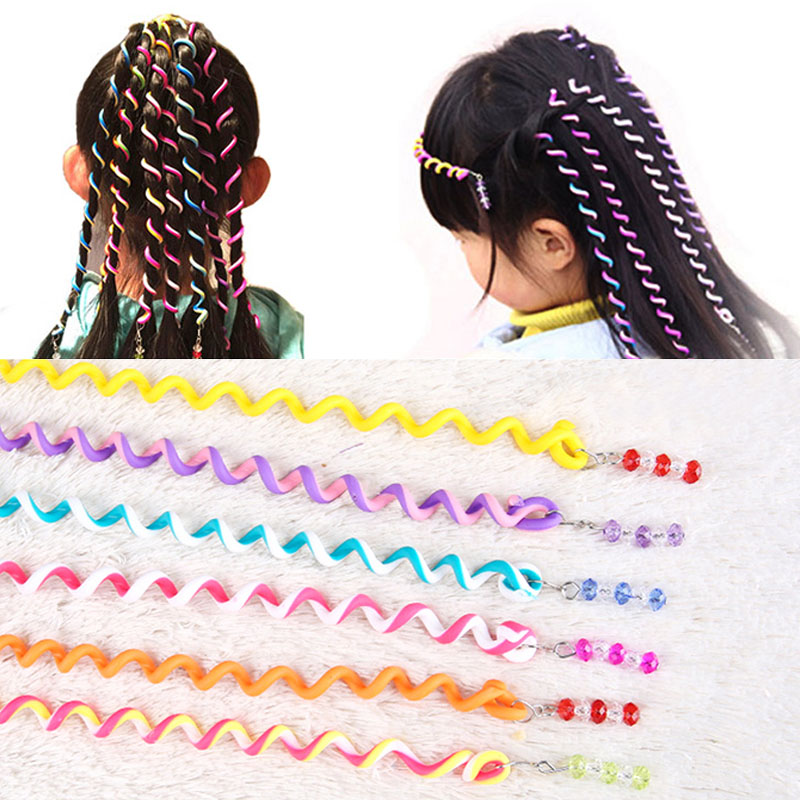 Fashion 6Pcs/1 Set Girls Children Colorful Lovely Hair Accessories Polymer Clay Hair Band Hair Braiding Tool south korea han edition tire hair accessories fashion version of wrong layer tassel wide set auger flannelette hair band