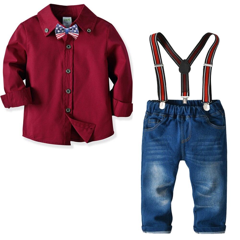 2-10y Jungen Formale Anzug Rot Shirts + Jean Junge Partei Kleidung Für Frühling Herbst Ks-1900 Gute QualitäT