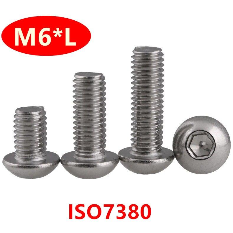 M6 x 10mm Presa a pulsante Testa Allen Bulloni Viti in Acciaio Inox Iso 7380