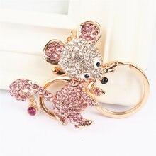 Розовый крыса брелок с мышью Стразы милый кулон с кристаллом для сумки кошелек сумка Carkey подарок
