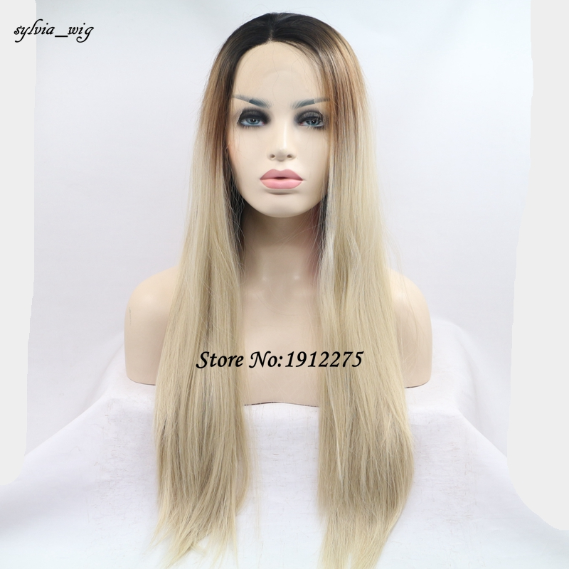 ФОТО Long hair dark root Lace Front Wigs Synthetic ombre brown to blonde Straight Heat Resistant Fiber Wigs Middle Parting Wig