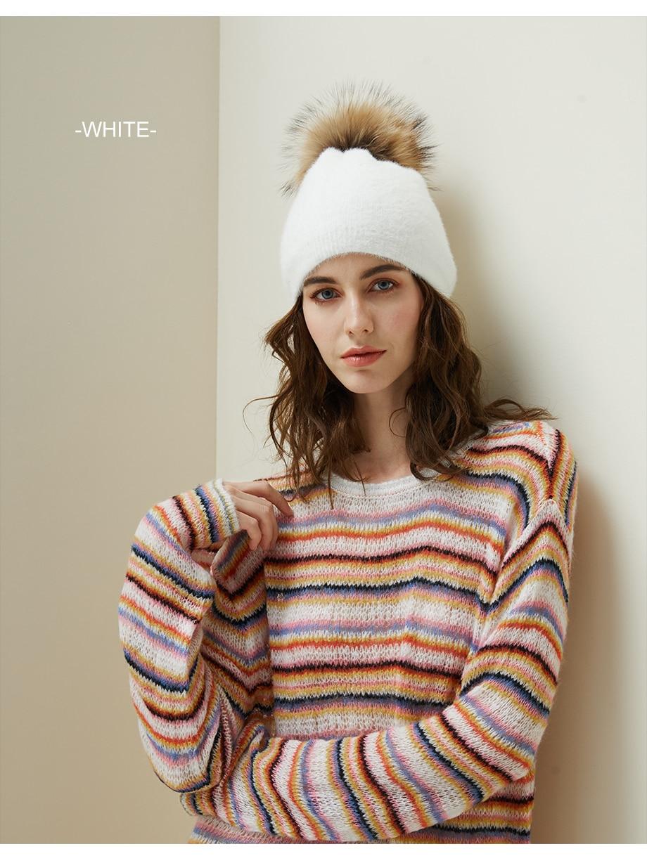Hat Female Raccoon Hair Ball Beanies Winter Warm Wool Bonnet Pompom Beanies 2018 Fashion Russia Knitted Skullies Cap For Girls (11)