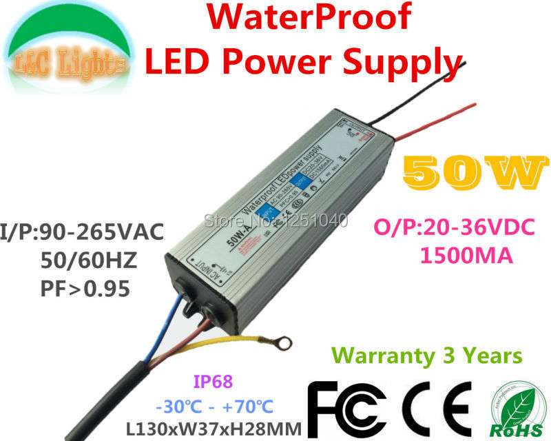 50W IP67 waterdichte voeding DC 20V tot 36V 1500mA constante stroom - Lamp accessoires